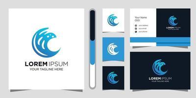 diseño de logotipo de onda y tarjeta de visita. vector