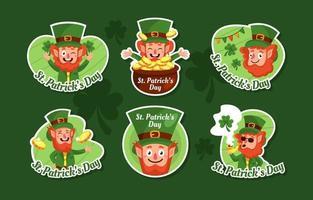 St Patricks Day Leprechaun Sticker Set vector