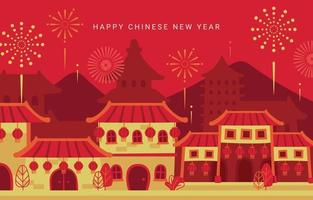 Chinese New Year Party with Fireworks vector