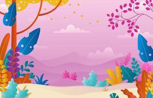 Flower Illustration With Landscape Background vector