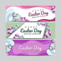 Set Of Easter Egg Banner Design Template vector