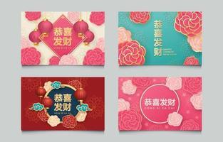 conjunto de tarjeta de año nuevo chino escrito en chino vector