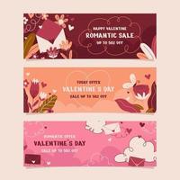 Hand Drawn Valentine Banner Set vector