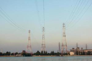 High voltage electricity poles photo