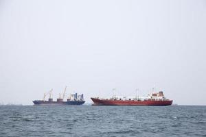 Large cargo ships on the sea