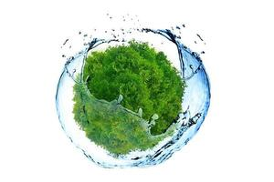 Green earth and water concept photo