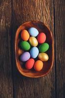 Easter eggs in wooden bowl photo
