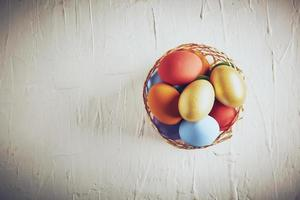 Top view of colorful eggs