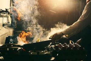 Chef making stir fry