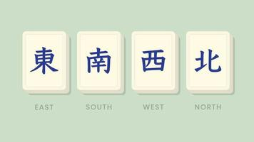 Mahjong Honors Winds Tiles vector