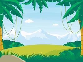 paisaje de la selva de dibujos animados sobre fondo de montañas nevadas vector