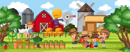 Farm outdoor scene with many children vector