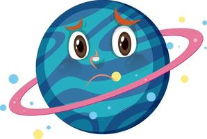 Saturn cartoon character with disappointed face expression on white background vector