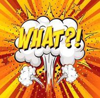 qué texto sobre explosión de nube cómica sobre fondo de rayos