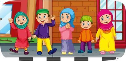 escena al aire libre con muchos personajes de dibujos animados de niños musulmanes vector