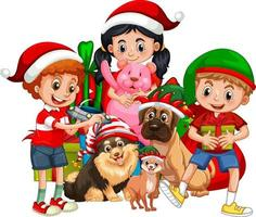Grupo de niños con su perro vistiendo traje de Navidad personaje de dibujos animados sobre fondo blanco. vector