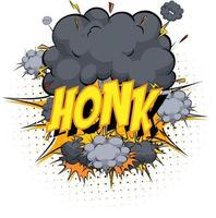 Word Honk on comic cloud explosion background