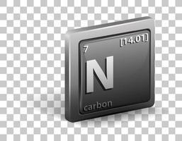 elemento químico de carbono. símbolo químico con número atómico y masa atómica. vector