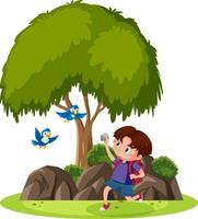 Isolated scene with a boy trying to throw stone to birds vector