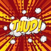 THUD wording comic speech bubble on burst vector
