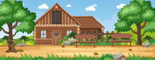paisaje rural casa paisaje vector
