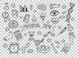 elemento médico en estilo doodle o boceto aislado sobre fondo transparente vector
