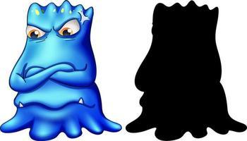 Monstruo azul con su silueta sobre fondo blanco.