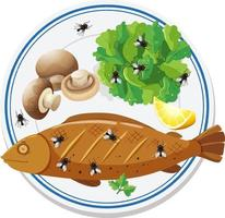 Top view of food with many flies flying around vector
