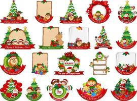 Conjunto de plantilla de tarjeta de Navidad en blanco aislado sobre fondo blanco.