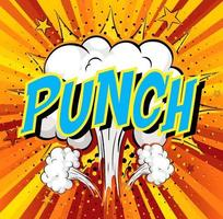 Word Punch on comic cloud explosion background
