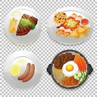 conjunto de comida sobre fondo transparente