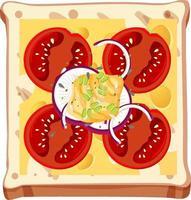 Vista superior del desayuno de pan con cobertura vector