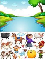 Escena de río en blanco con personajes y objetos de dibujos animados aislados vector
