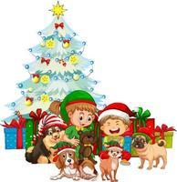 Grupo de niños con su perro vistiendo trajes de Navidad sobre fondo blanco. vector