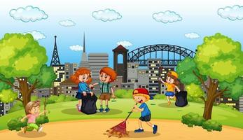 Scene with many children cleaning in the park vector