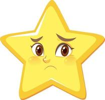 Personaje de dibujos animados de estrellas con expresión facial decepcionada sobre fondo blanco. vector