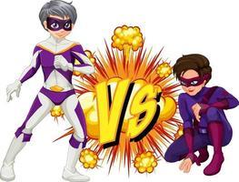 dos superhéroes peleando entre ellos vector