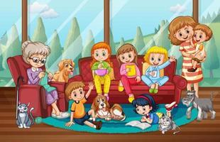escena interior de casa con familia feliz vector