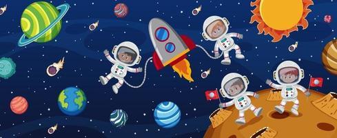 muchos astronautas en el fondo de la galaxia. vector