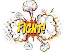 Texto de lucha en explosión de nube cómica aislado sobre fondo blanco.