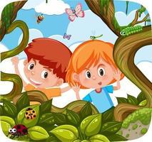 Cute kids exploring the nature vector