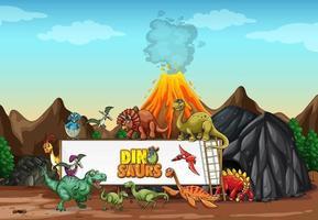 Dinosaurs cartoon character in nature scene vector