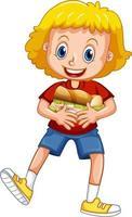 una niña sosteniendo un personaje de dibujos animados de alimentos aislado sobre fondo blanco