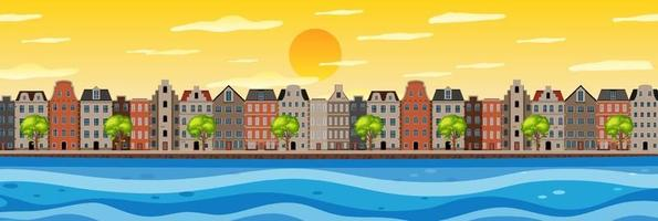 Riverside view of the town scene vector