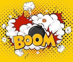 BOOM wording comic speech bubble on burst vector