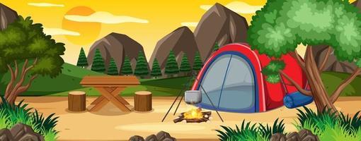 acampando en la escena del parque natural vector