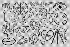 Different doodle strokes about science equipment on transparent background vector