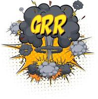GRR text on comic cloud explosion isolated on white background vector