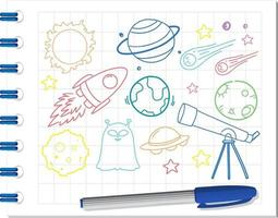 Set of space element doodle on notebook vector