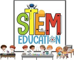 Stem education logo with kids wearing scientist costume isolated vector